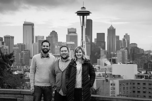 Kim, Bobby and Kyle pose at Kerry Park with the city in the background