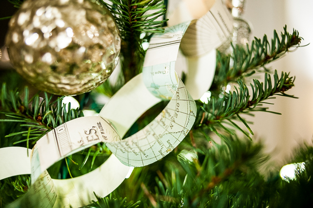 paper garland chain close up hanging on tree